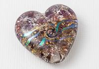 Purple Glittery Heart Lampwork Bead