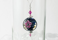 Pink Flower Lampwork Pendant