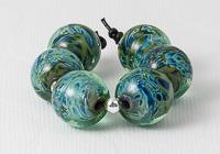 Green Shimmer Lampwork Beads