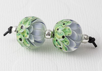 Lilac and Green Lampwork Dahlia Bead Pair