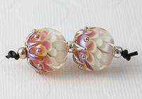 Pink Lampwork Dahlia Bead Pair