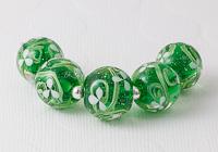 White Flower Lampwork Beads
