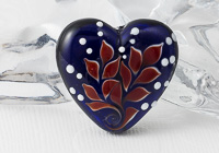 Red Leafy Lampwork Heart Bead