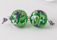 Purple Flower Lampwork Bead Pair
