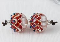 Red Lampwork Dahlia Bead Pair