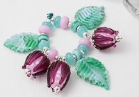 Lampwork Leaf and Rose Beads