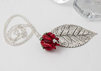Red Rose and Leaf Pendant
