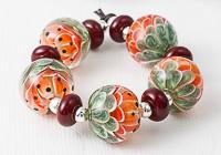 Melon Lampwork Dahlia Beads