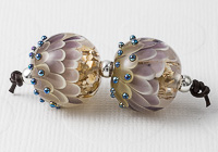 Purple and Gold Lampwork Dahlia Bead Pair