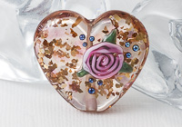 Lampwork Flower Heart Bead