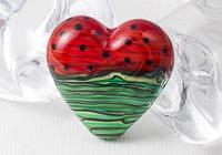 Lampwork Melon Heart Bead