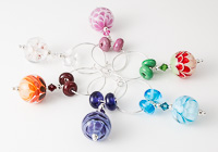 Lampwork Flower Wine Glass Charms (set of 6)