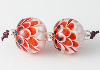 Red Dahlia Lampwork Beads
