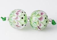Green Dahlia Lampwork Beads