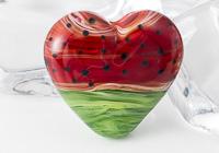 Water Melon Lampwork Heart Bead