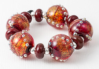 Red Dichroic Lampwork Beads