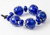 Blue Dichroic Lampwork Beads
