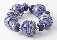 Blueberry Lampwork Dahlia Beads