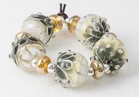Golden Moss Dahlia Lampwork Beads