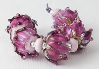 Pink Lampwork Rose Beads