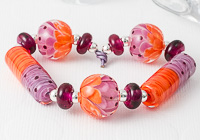 Orange and Purple Lampwork Beads