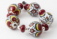 Red Graphics Lampwork Beads