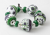 Green and Purple Graphics Lampwork Beads