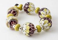 Pistachio Lampwork Dahlia Beads