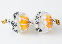 Golden Dahlia Lampwork Beads