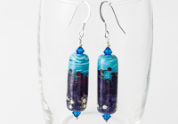Purple Tubular Lampwork Earrings