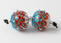 Turquoise and Red Dahlia Beads