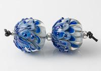 Large Blue Lampwork Dahlia Bead Pair