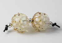 Golden Lampwork Dahlia Bead Pair
