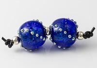 Blue Dichroic Lampwork Bead Pair