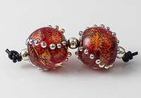 Orange Dichroic Lampwork Bead Pair