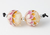 Amber and Pink Lampwork Dahlia Bead Pair