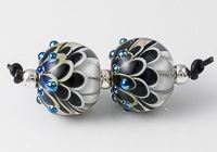 Black and White Lampwork Dahlia Bead Pair