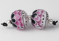 Black and Pink Lampwork Dahlia Bead Pair