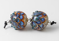 Silver Glass Lampwork Dahlia Bead Pair