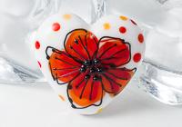 Lampwork Flower Heart Bead