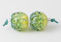 Green Lampwork Dahlia Bead Pair