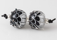 Black Lampwork Dahlia Bead Pair