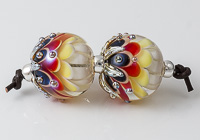 Hot Lampwork Dahlia Bead Pair