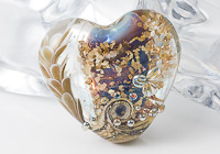 Flower Lampwork Heart Bead