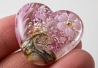 Flower Lampwork Heart Bead