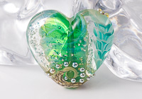 Teal Flower Lampwork Heart Bead