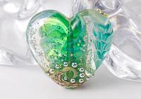 Teal Flower Lampwork Heart Bead