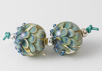Silver Glass Dahlia Bead Pair