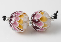 Pink and Amber Dahlia Bead Pair