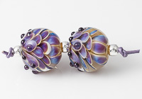 Silver Glass Dahlia Bead Pair